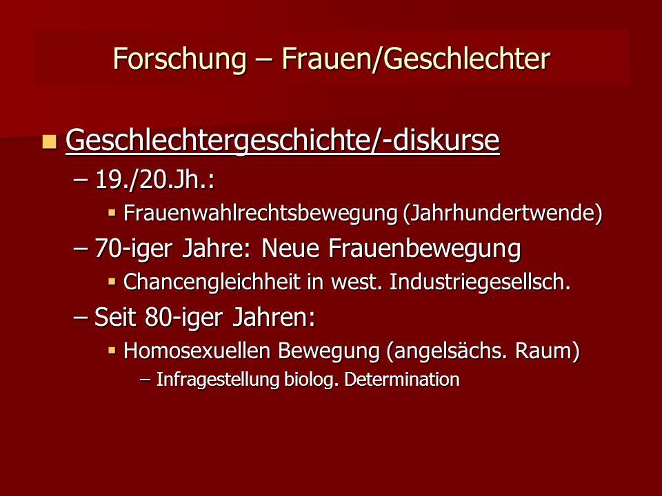 Forschung – Frauen/Geschlechter Geschlechtergeschichte/-diskurse Geschlechtergeschichte/-diskurse –19./20.Jh.:  Frauenwahlrechtsbewegung (Jahrhundertwende) –70-iger Jahre: Neue Frauenbewegung  Chancengleichheit in west.