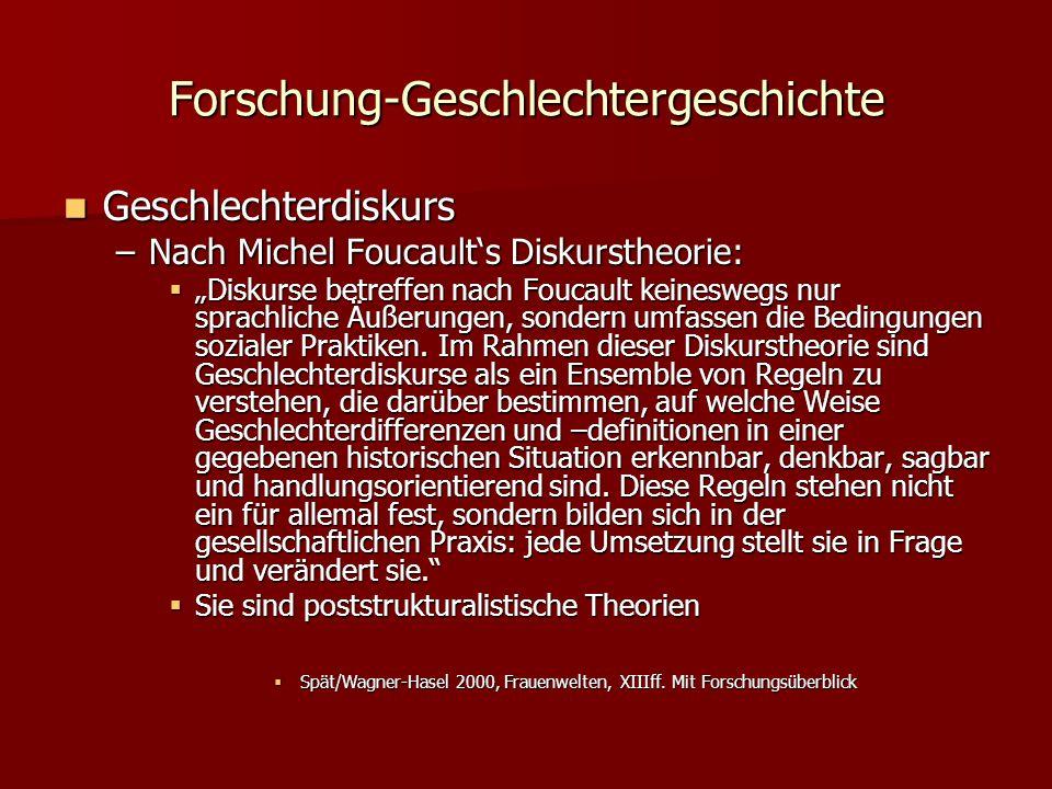 """Forschung-Geschlechtergeschichte Geschlechterdiskurs Geschlechterdiskurs –Nach Michel Foucault's Diskurstheorie:  """"Diskurse betreffen nach Foucault keineswegs nur sprachliche Äußerungen, sondern umfassen die Bedingungen sozialer Praktiken."""