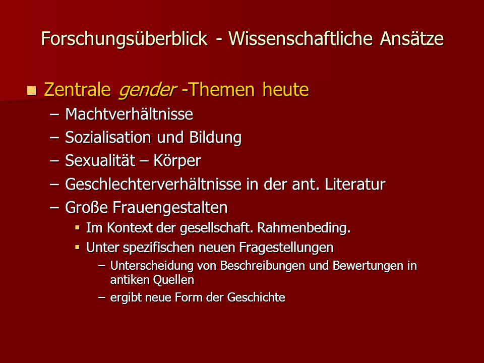 Forschungsüberblick - Wissenschaftliche Ansätze Zentrale gender -Themen heute Zentrale gender -Themen heute –Machtverhältnisse –Sozialisation und Bildung –Sexualität – Körper –Geschlechterverhältnisse in der ant.