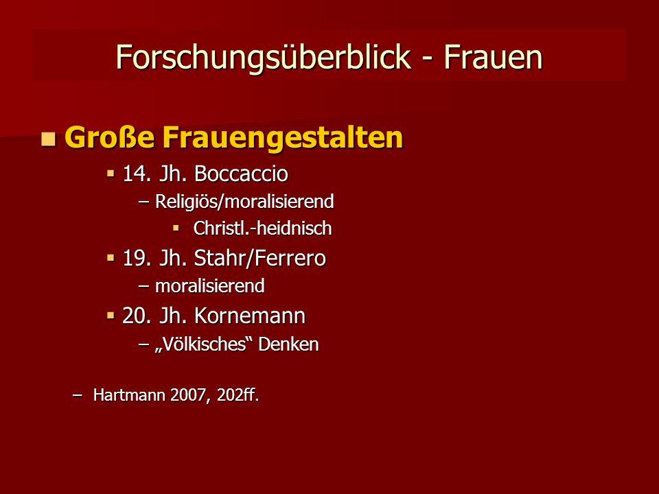 Forschungsüberblick - Frauen Große Frauengestalten Große Frauengestalten  14.
