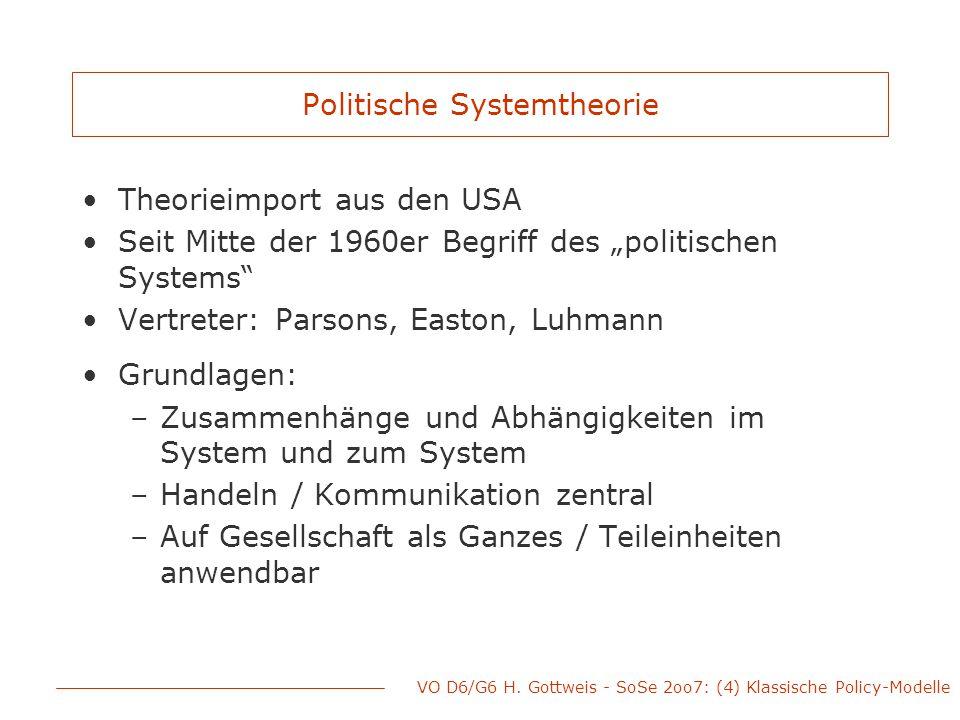"""Politische Systemtheorie Theorieimport aus den USA Seit Mitte der 1960er Begriff des """"politischen Systems"""" Vertreter: Parsons, Easton, Luhmann Grundla"""