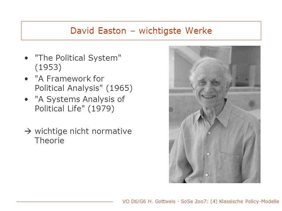 VO D6/G6 H. Gottweis - SoSe 2oo7: (4) Klassische Policy-Modelle David Easton – wichtigste Werke