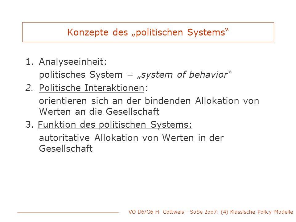 """VO D6/G6 H. Gottweis - SoSe 2oo7: (4) Klassische Policy-Modelle Konzepte des """"politischen Systems"""" 1.Analyseeinheit: politisches System = """"system of b"""