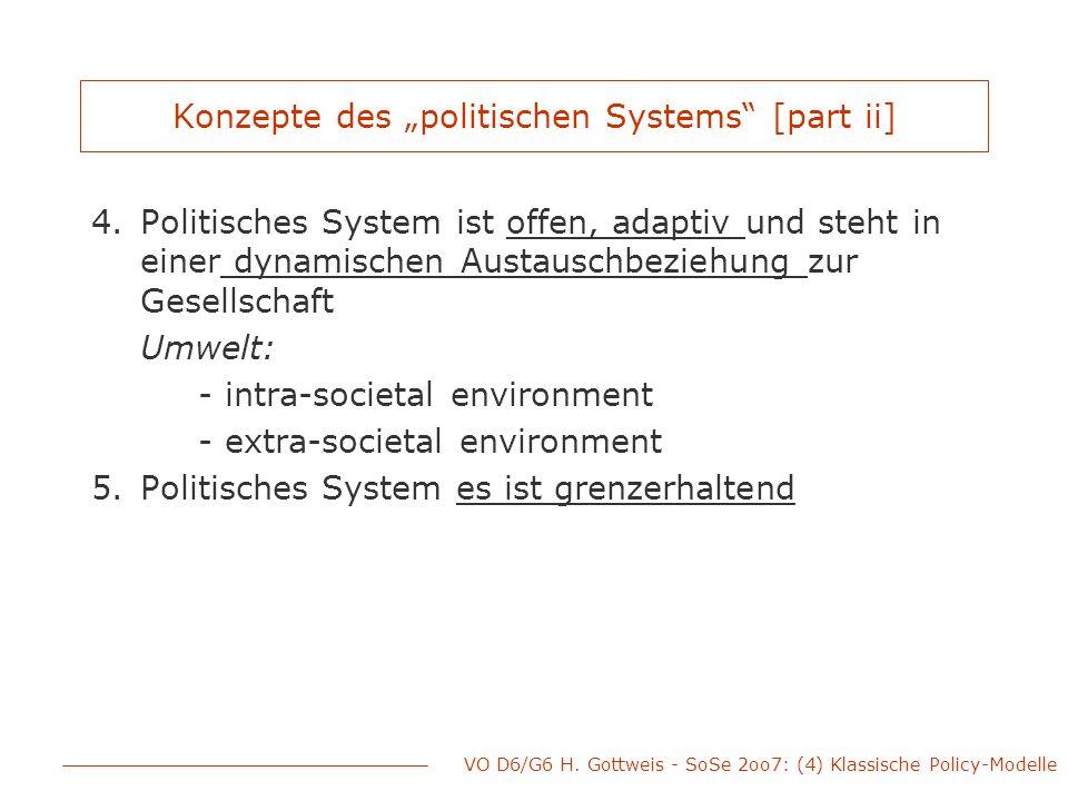 """VO D6/G6 H. Gottweis - SoSe 2oo7: (4) Klassische Policy-Modelle Konzepte des """"politischen Systems"""" [part ii] 4.Politisches System ist offen, adaptiv u"""