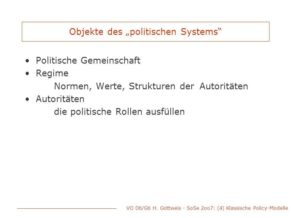 """VO D6/G6 H. Gottweis - SoSe 2oo7: (4) Klassische Policy-Modelle Objekte des """"politischen Systems"""" Politische Gemeinschaft Regime Normen, Werte, Strukt"""