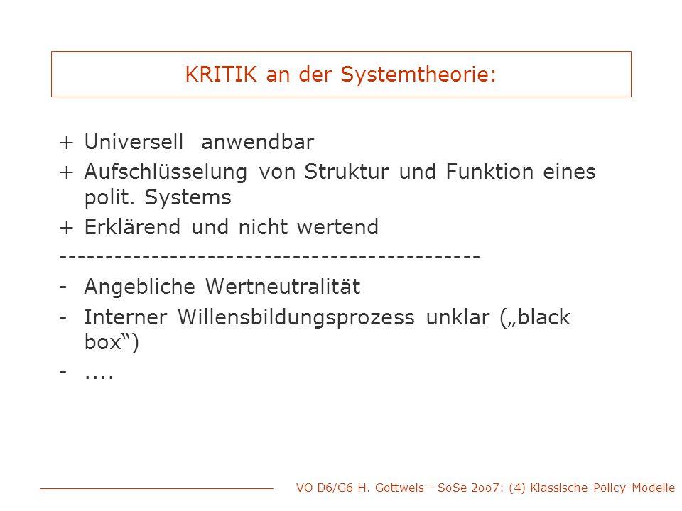 VO D6/G6 H. Gottweis - SoSe 2oo7: (4) Klassische Policy-Modelle KRITIK an der Systemtheorie: +Universell anwendbar +Aufschlüsselung von Struktur und F