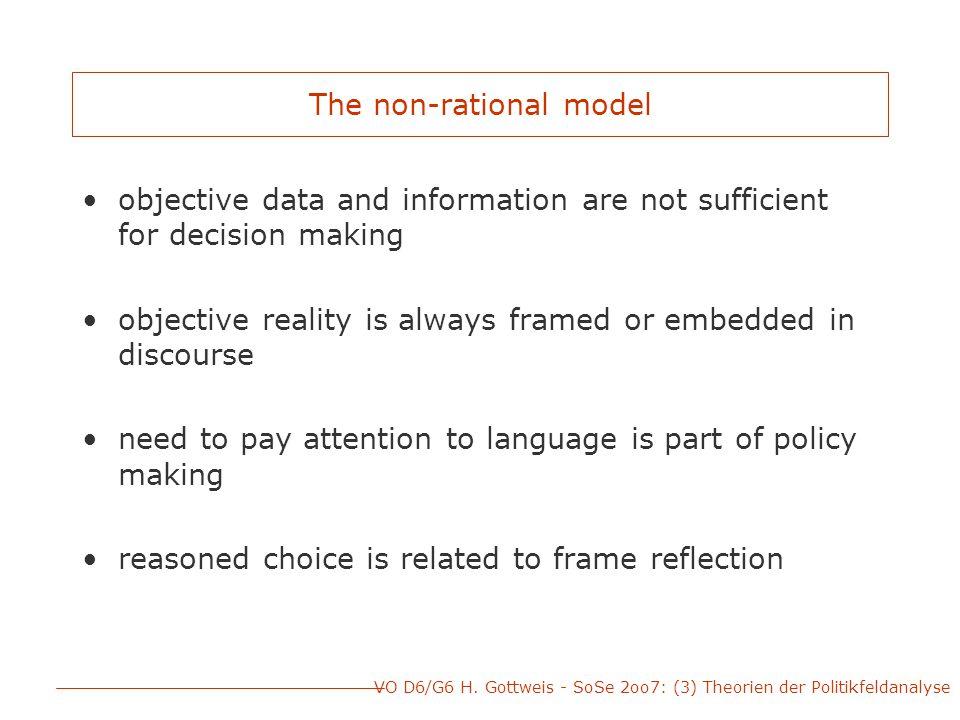 VO D6/G6 H.Gottweis - SoSe 2oo7: (3) Theorien der Politikfeldanalyse Rationale vs.