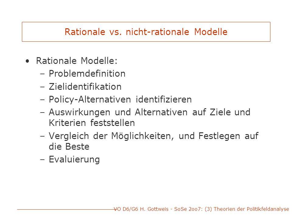 VO D6/G6 H. Gottweis - SoSe 2oo7: (3) Theorien der Politikfeldanalyse Rationale vs.