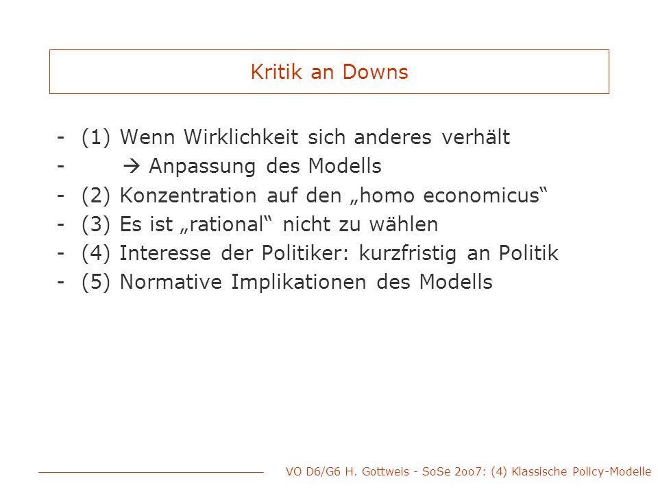 VO D6/G6 H. Gottweis - SoSe 2oo7: (4) Klassische Policy-Modelle Kritik an Downs -(1) Wenn Wirklichkeit sich anderes verhält -  Anpassung des Modells