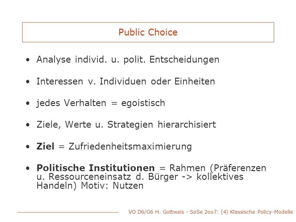 VO D6/G6 H. Gottweis - SoSe 2oo7: (4) Klassische Policy-Modelle Public Choice Analyse individ. u. polit. Entscheidungen Interessen v. Individuen oder