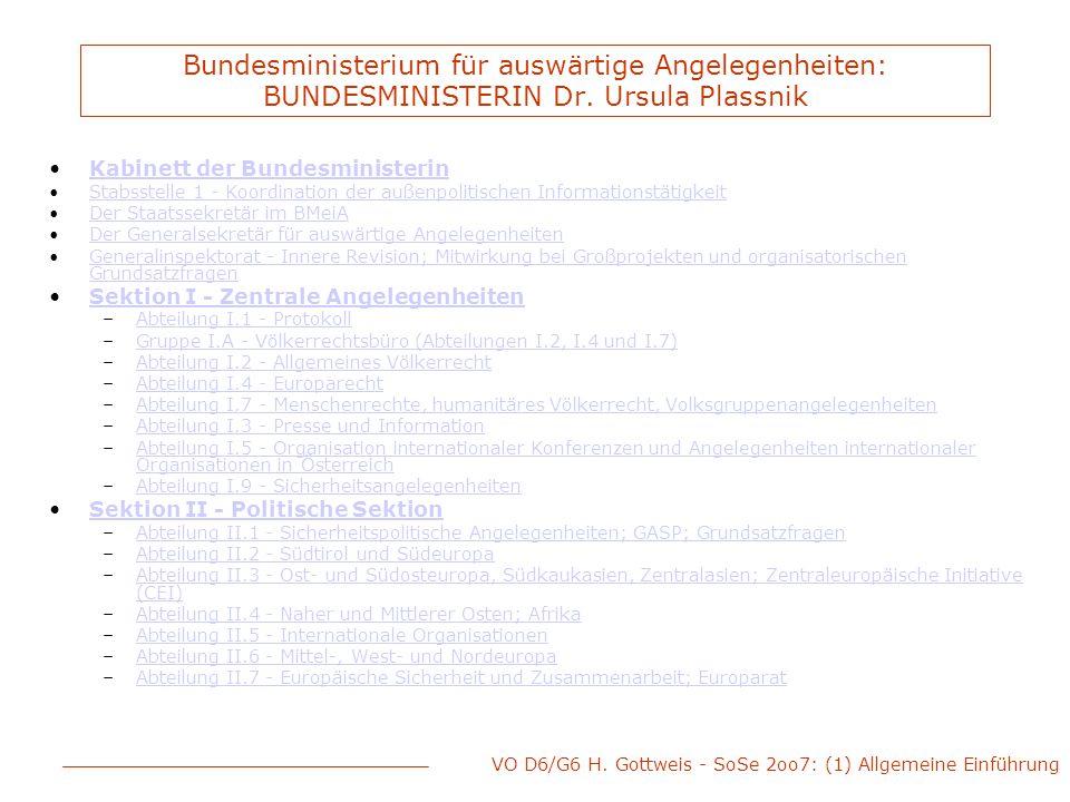 VO D6/G6 H. Gottweis - SoSe 2oo7: (1) Allgemeine Einführung Bundesministerium für auswärtige Angelegenheiten: BUNDESMINISTERIN Dr. Ursula Plassnik Kab