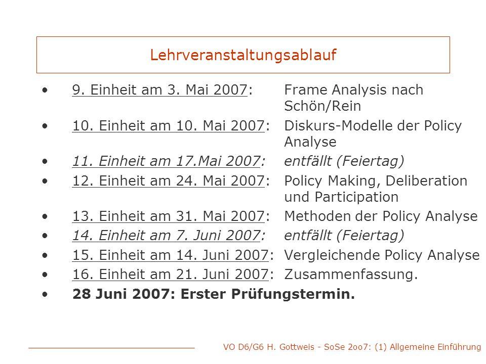 VO D6/G6 H. Gottweis - SoSe 2oo7: (1) Allgemeine Einführung Lehrveranstaltungsablauf 9. Einheit am 3. Mai 2007: Frame Analysis nach Schön/Rein 10. Ein