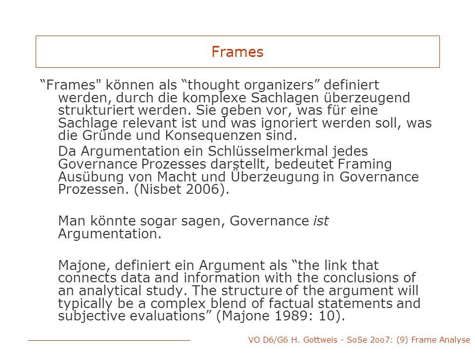 VO D6/G6 H.Gottweis - SoSe 2oo7: (9) Frame Analyse Goffman, E.