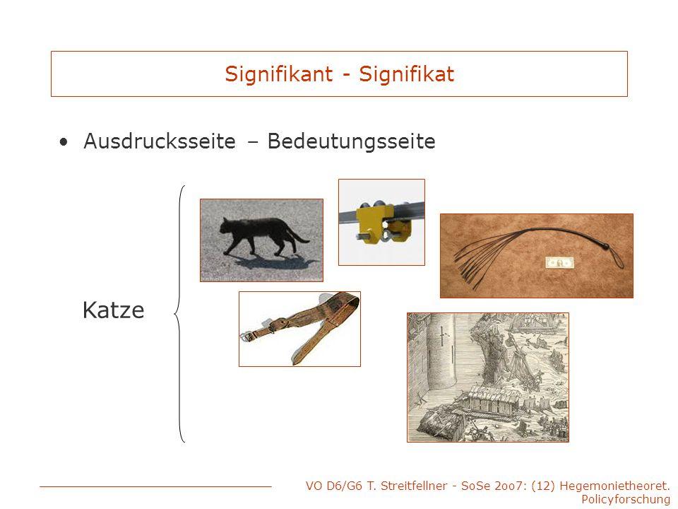 VO D6/G6 T. Streitfellner - SoSe 2oo7: (12) Hegemonietheoret. Policyforschung Signifikant - Signifikat Ausdrucksseite – Bedeutungsseite Katze