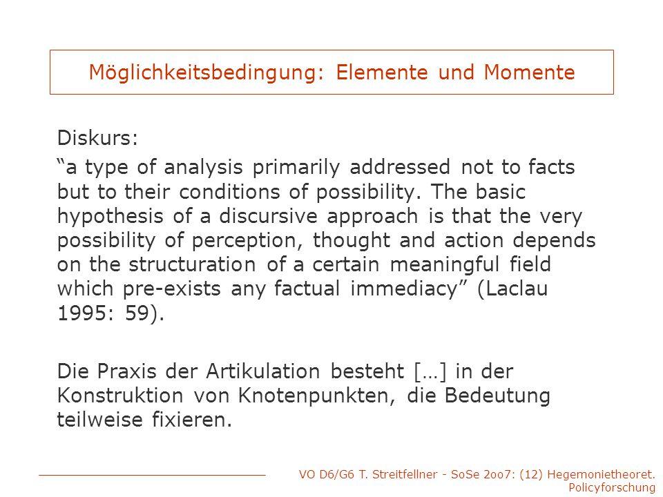 """VO D6/G6 T. Streitfellner - SoSe 2oo7: (12) Hegemonietheoret. Policyforschung Möglichkeitsbedingung: Elemente und Momente Diskurs: """"a type of analysis"""