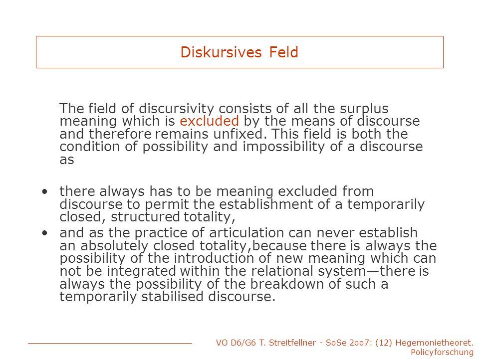 VO D6/G6 T. Streitfellner - SoSe 2oo7: (12) Hegemonietheoret. Policyforschung Diskursives Feld The field of discursivity consists of all the surplus m