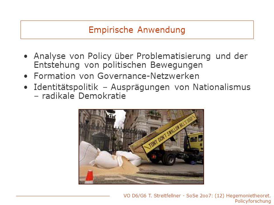 VO D6/G6 T. Streitfellner - SoSe 2oo7: (12) Hegemonietheoret. Policyforschung Empirische Anwendung Analyse von Policy über Problematisierung und der E