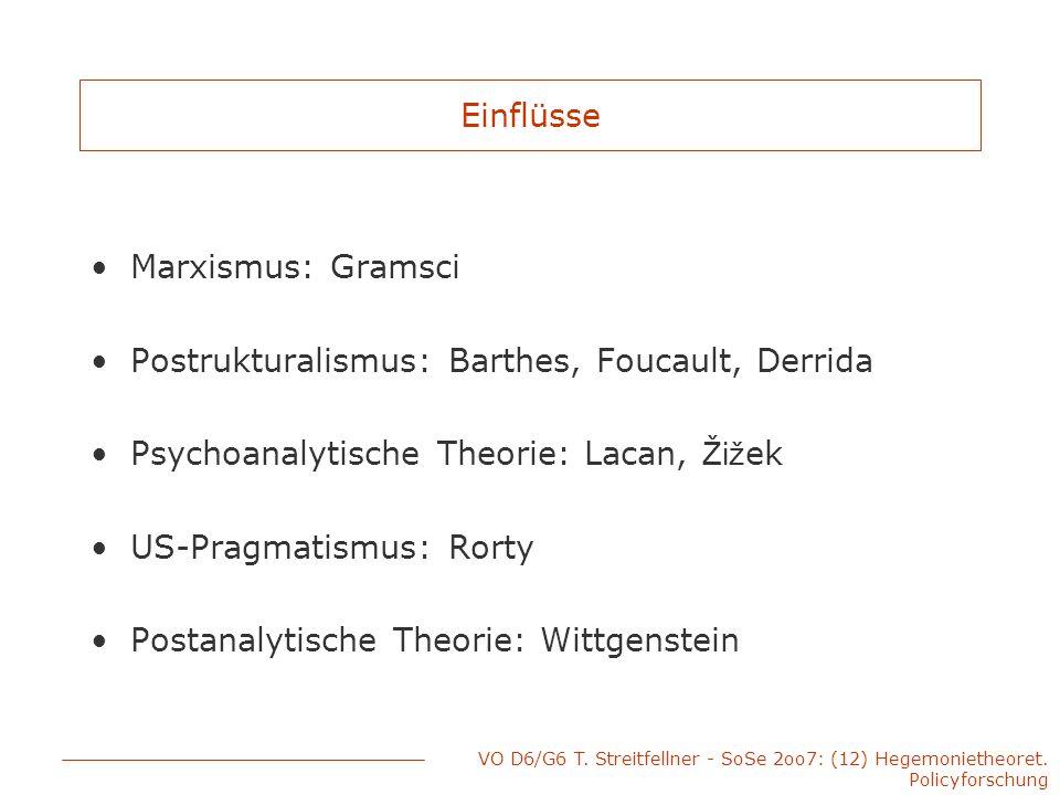 VO D6/G6 T. Streitfellner - SoSe 2oo7: (12) Hegemonietheoret. Policyforschung Einflüsse Marxismus: Gramsci Postrukturalismus: Barthes, Foucault, Derri