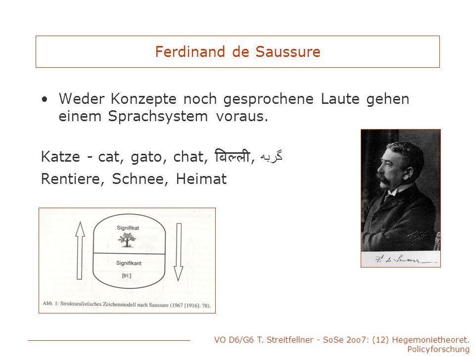 VO D6/G6 T. Streitfellner - SoSe 2oo7: (12) Hegemonietheoret. Policyforschung Ferdinand de Saussure Weder Konzepte noch gesprochene Laute gehen einem