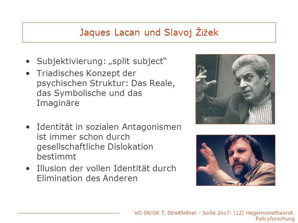 "VO D6/G6 T. Streitfellner - SoSe 2oo7: (12) Hegemonietheoret. Policyforschung Jaques Lacan und Slavoj Žiž ek Subjektivierung: ""split subject"" Triadisc"