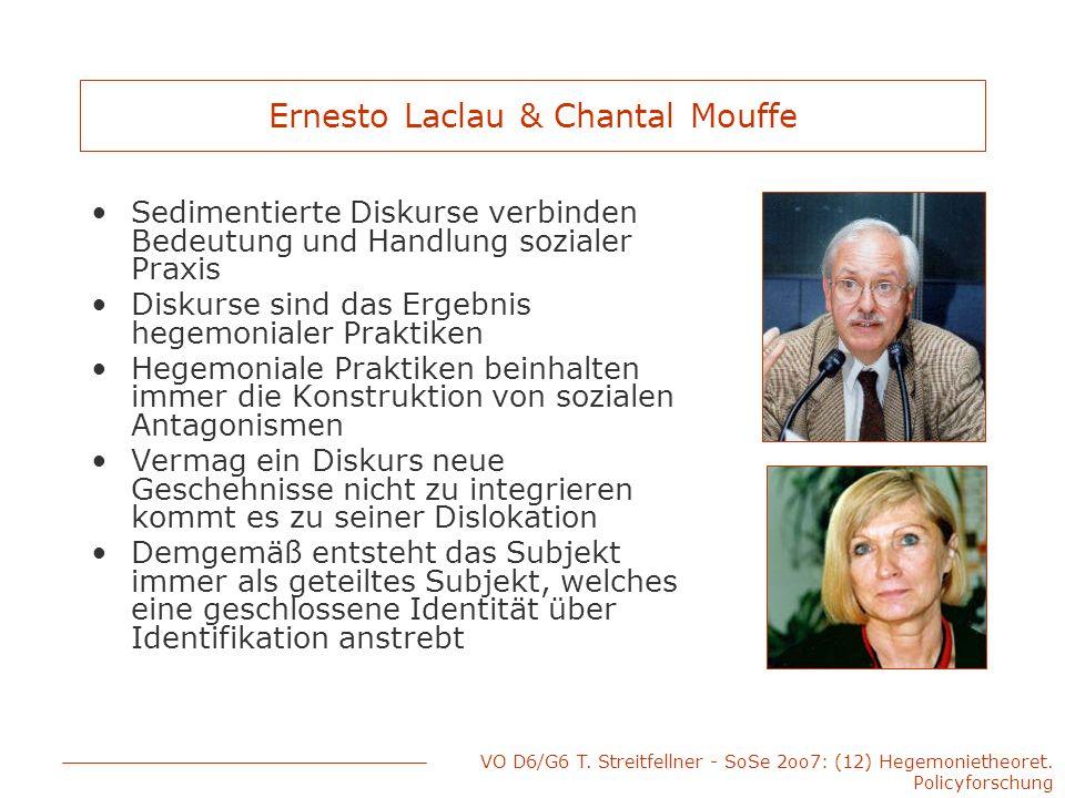 VO D6/G6 T. Streitfellner - SoSe 2oo7: (12) Hegemonietheoret. Policyforschung Ernesto Laclau & Chantal Mouffe Sedimentierte Diskurse verbinden Bedeutu