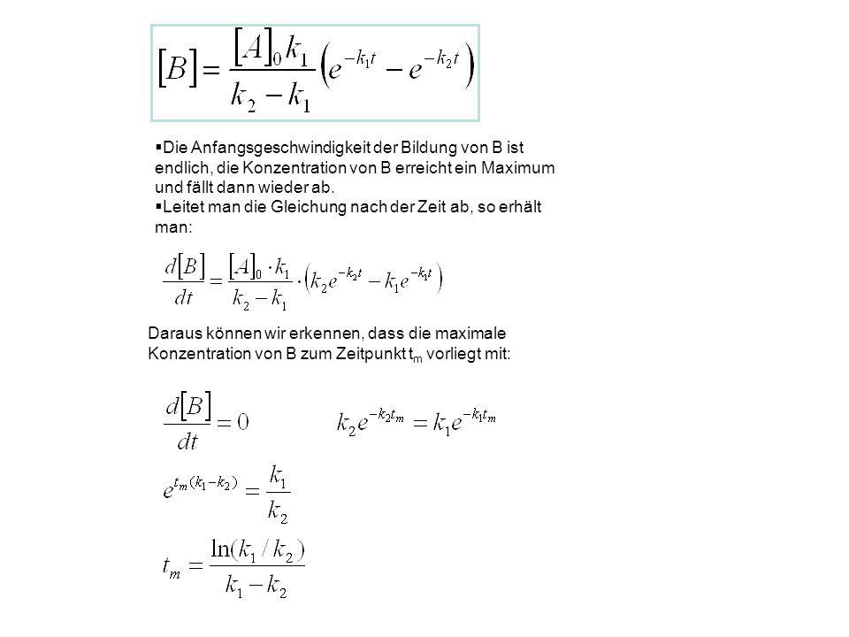  Die Anfangsgeschwindigkeit der Bildung von B ist endlich, die Konzentration von B erreicht ein Maximum und fällt dann wieder ab.  Leitet man die Gl
