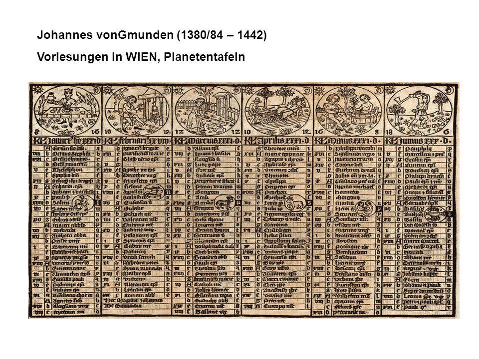 Johannes vonGmunden (1380/84 – 1442) Vorlesungen in WIEN, Planetentafeln