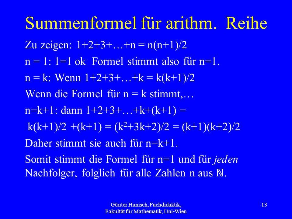 Summenformel für arithm.