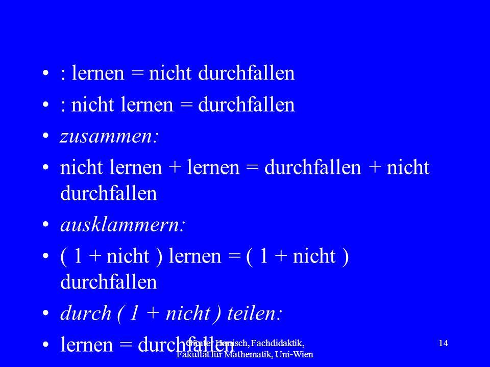 : lernen = nicht durchfallen : nicht lernen = durchfallen zusammen: nicht lernen + lernen = durchfallen + nicht durchfallen ausklammern: ( 1 + nicht ) lernen = ( 1 + nicht ) durchfallen durch ( 1 + nicht ) teilen: lernen = durchfallen Günter Hanisch, Fachdidaktik, Fakultät für Mathematik, Uni-Wien 14