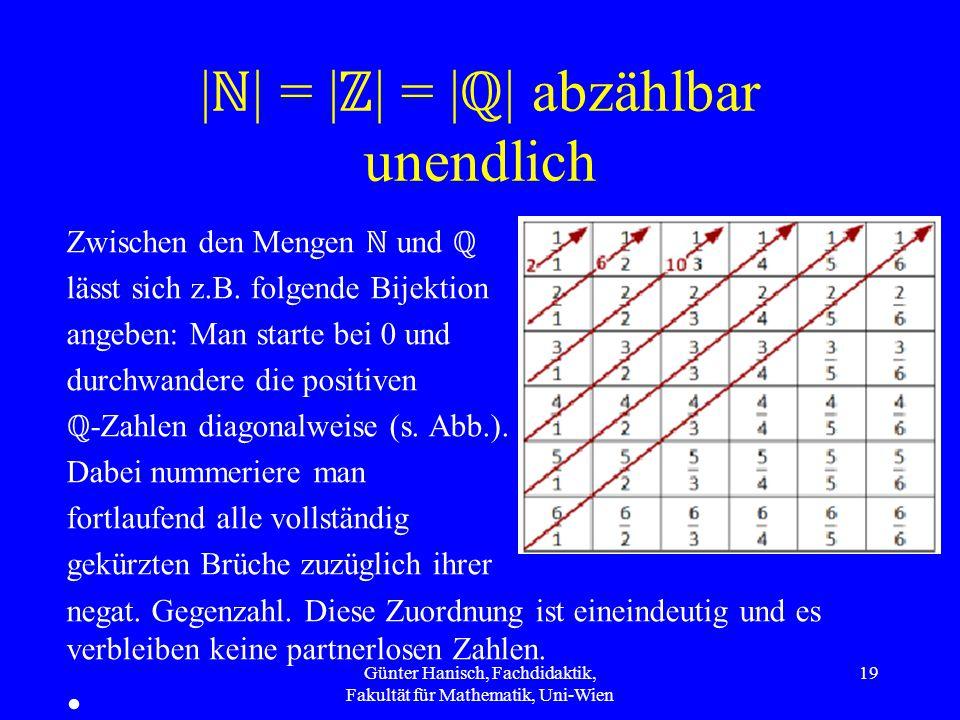 | ℕ | = | ℤ | = | ℚ | abzählbar unendlich Zwischen den Mengen ℕ und ℚ lässt sich z.B.