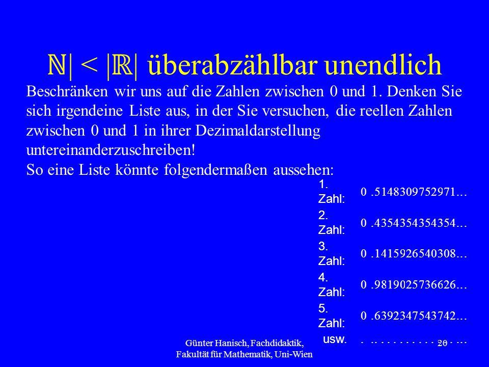 ℕ | < | ℝ | überabzählbar unendlich 1.Zahl: 0.5148309752971...