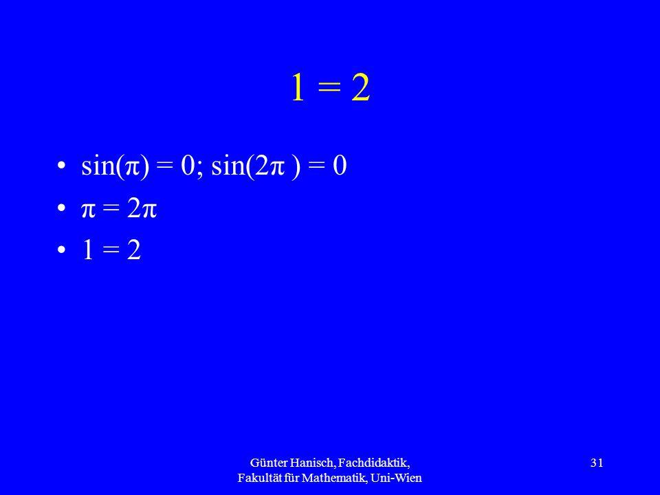 1 = 2 sin(π) = 0; sin(2π ) = 0 π = 2π 1 = 2 Günter Hanisch, Fachdidaktik, Fakultät für Mathematik, Uni-Wien 31