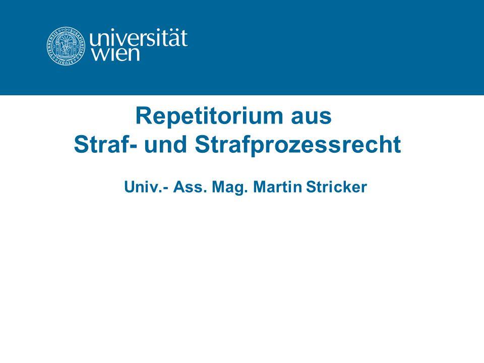 Repetitorium aus Straf- und Strafprozessrecht Univ.- Ass. Mag. Martin Stricker