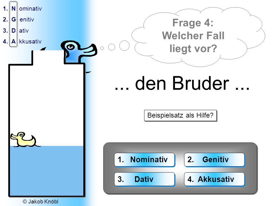 © Jakob Knöbl 1.N ominativ 2.G enitiv 3.D ativ 4.A kkusativ Der Wasser-Fall: 1.Das Wasser 2.Des Wassers 3.Dem Wasser 4.Das Wasser 1.Die Wasser 2.Der Wasser 3.Den Wassern 4.Die Wasser Welcher Fall liegt vor?...