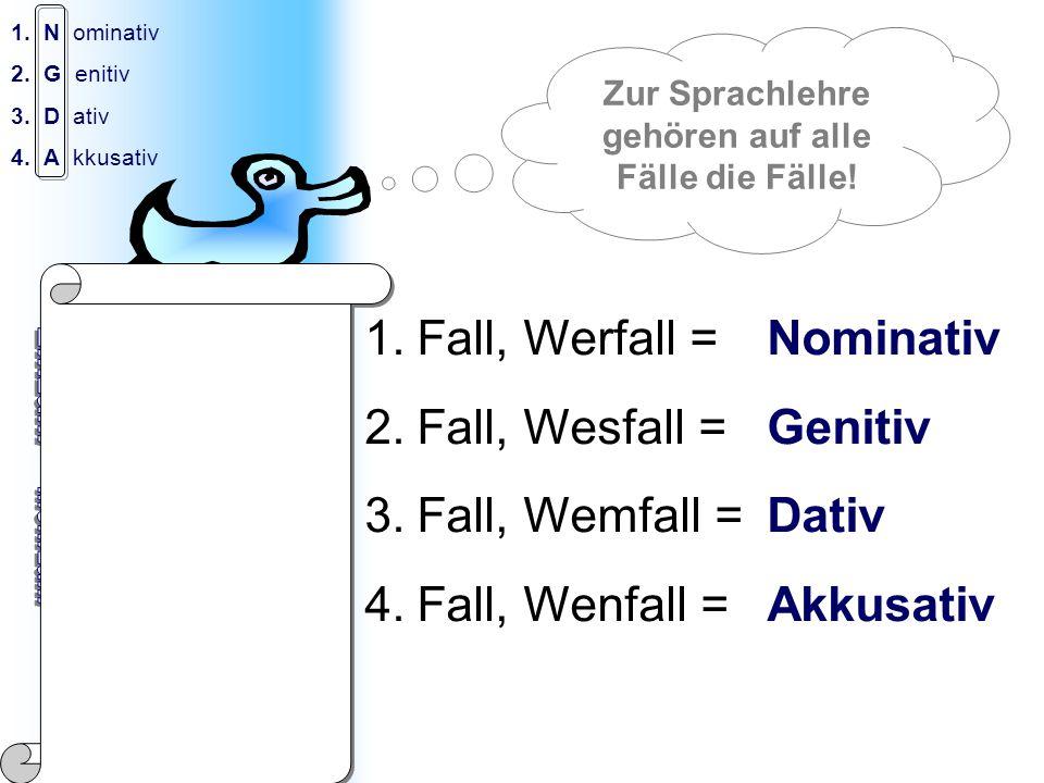 © Jakob Knöbl 1.N ominativ 2.G enitiv 3.D ativ 4.A kkusativ Der Wasser-Fall: 1.Das Wasser 2.Des Wassers 3.Dem Wasser 4.Das Wasser 1.Die Wasser 2.Der Wasser 3.Den Wassern 4.Die Wasser 1.Fall, Werfall = Nominativ 2.Fall, Wesfall = Genitiv 3.Fall, Wemfall = Dativ 4.Fall, Wenfall = Akkusativ Zur Sprachlehre gehören auf alle Fälle die Fälle.