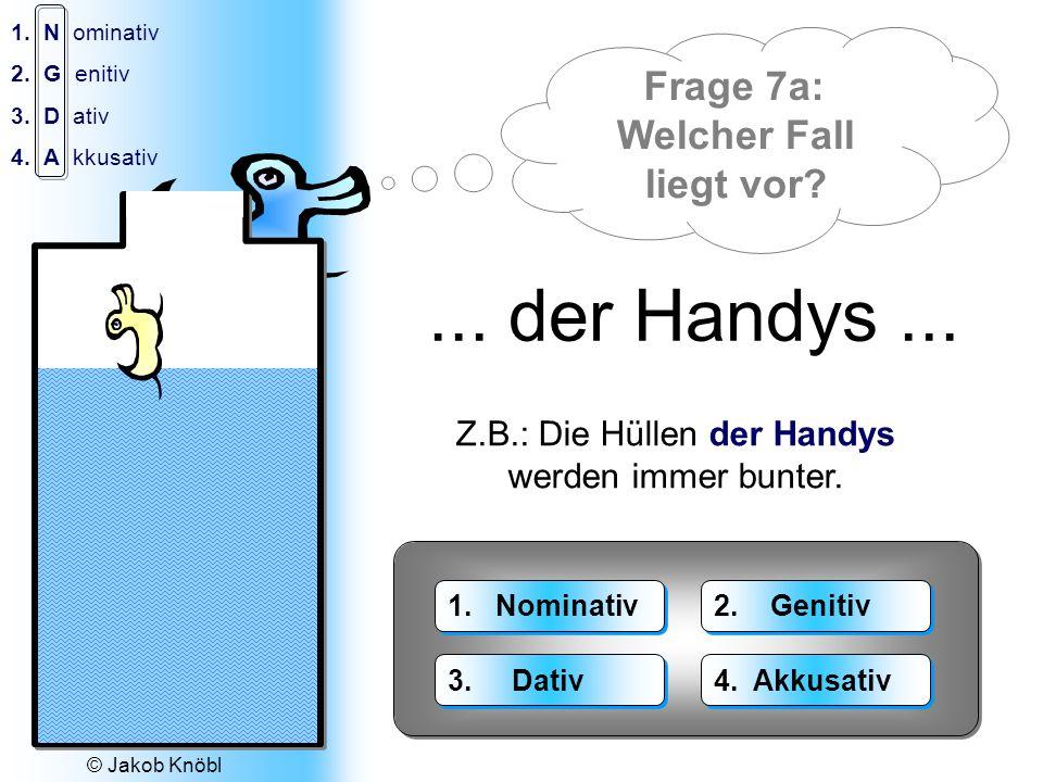 © Jakob Knöbl 1.N ominativ 2.G enitiv 3.D ativ 4.A kkusativ Der Wasser-Fall: 1.Das Wasser 2.Des Wassers 3.Dem Wasser 4.Das Wasser 1.Die Wasser 2.Der W