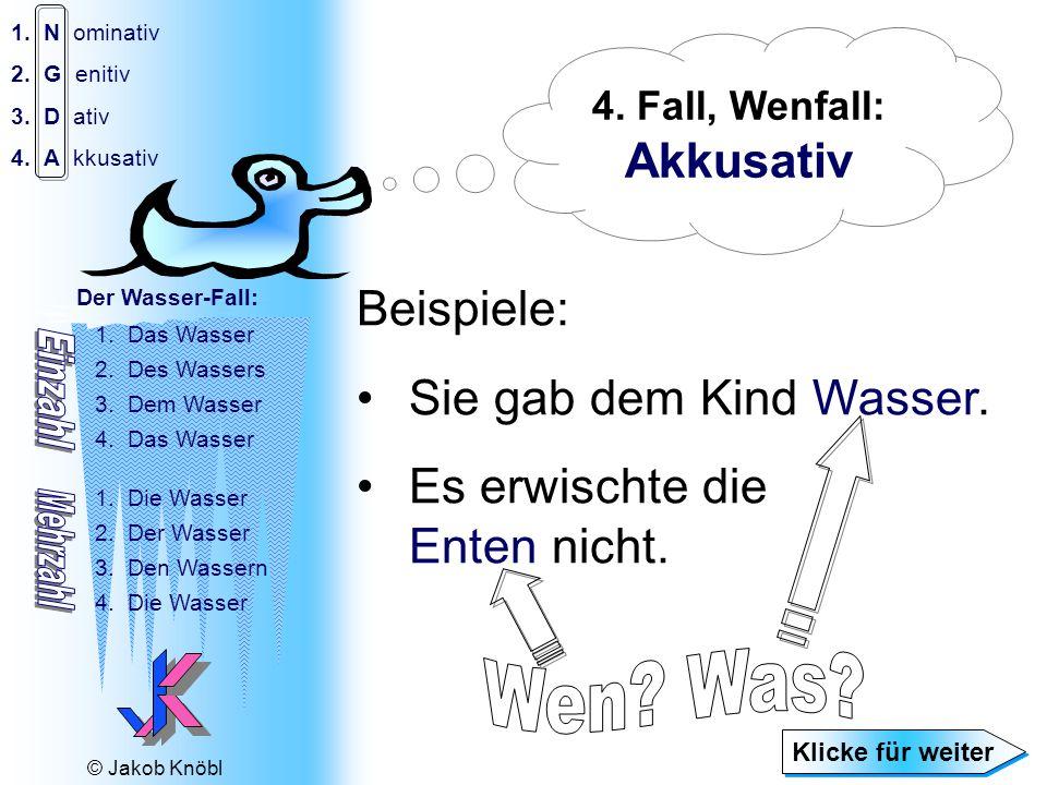 © Jakob Knöbl 1.N ominativ 2.G enitiv 3.D ativ 4.A kkusativ Der Wasser-Fall: 1.Das Wasser 2.Des Wassers 3.Dem Wasser 4.Das Wasser 1.Die Wasser 2.Der Wasser 3.Den Wassern 4.Die Wasser Beispiele: Sie gab dem Kind Wasser.