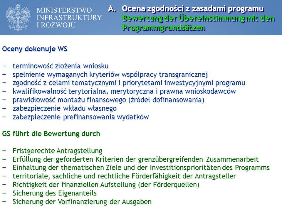 A.Ocena zgodności z zasadami programu Bewertung der Übereinstimmung mit den Programmgrundsätzen Oceny dokonuje WS − terminowość złożenia wniosku − spe