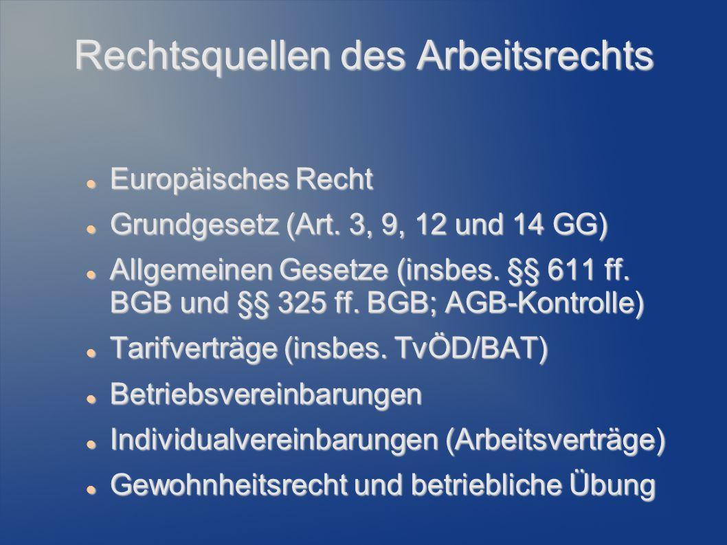 Rechtsquellen des Arbeitsrechts Europäisches Recht Europäisches Recht Grundgesetz (Art. 3, 9, 12 und 14 GG) Grundgesetz (Art. 3, 9, 12 und 14 GG) Allg