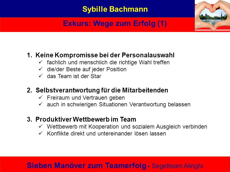Sybille Bachmann Exkurs: Wege zum Erfolg (1) Sieben Manöver zum Teamerfolg - Segelteam Alinghi 1.Keine Kompromisse bei der Personalauswahl fachlich un