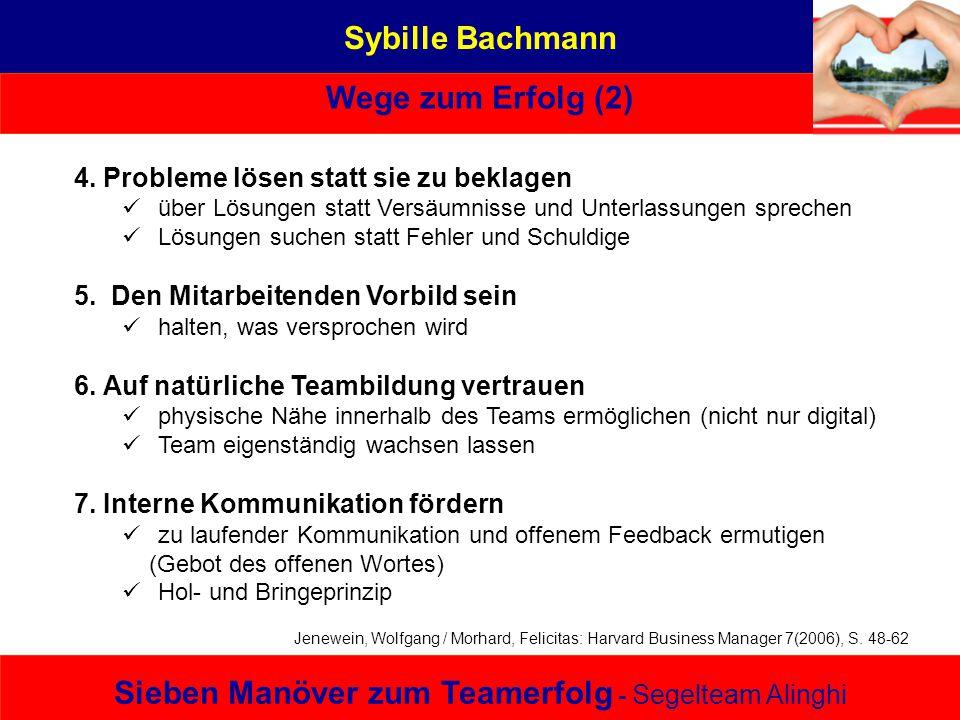 Sybille Bachmann Wege zum Erfolg (2) Sieben Manöver zum Teamerfolg - Segelteam Alinghi 4. Probleme lösen statt sie zu beklagen über Lösungen statt Ver