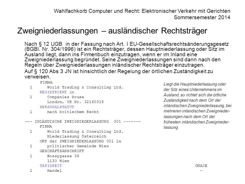 Wahlfachkorb Computer und Recht: Elektronischer Verkehr mit Gerichten Sommersemester 2014 Zweigniederlassungen – ausländischer Rechtsträger Nach § 12 UGB in der Fassung nach Art.