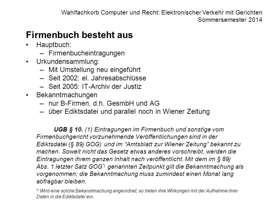 Wahlfachkorb Computer und Recht: Elektronischer Verkehr mit Gerichten Sommersemester 2014 Firmenbuch besteht aus Hauptbuch: –Firmenbucheintragungen Urkundensammlung: –Mit Umstellung neu eingeführt –Seit 2002: el.