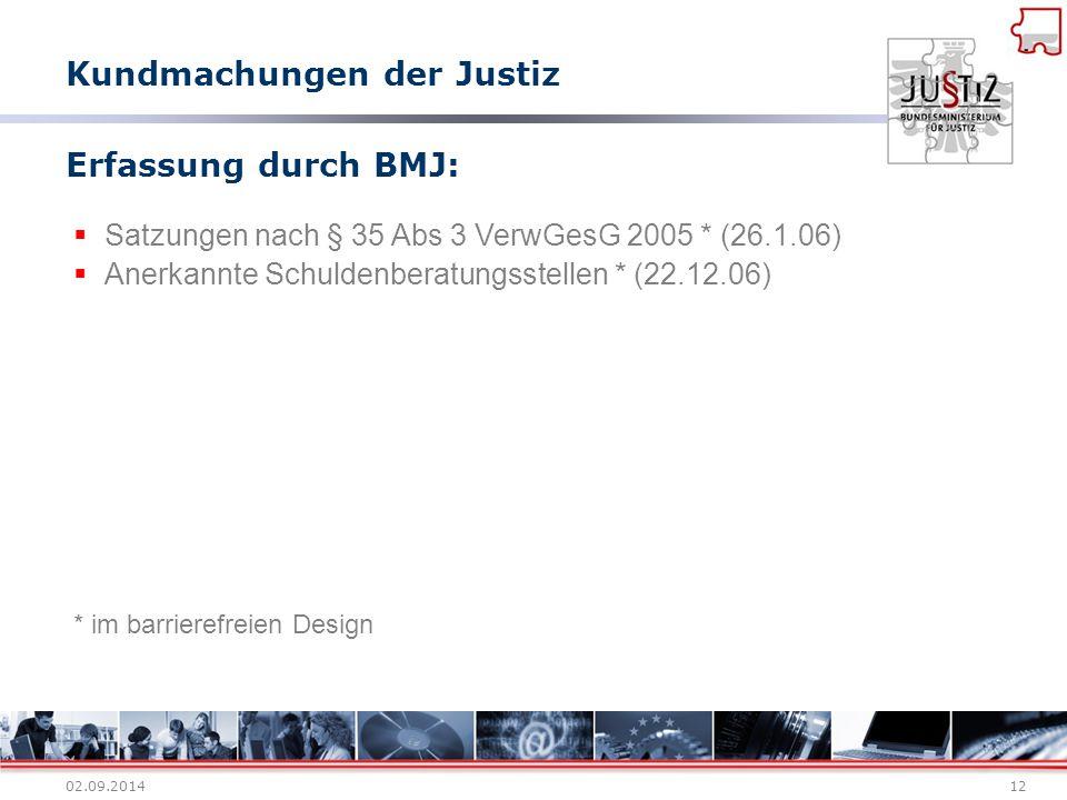 02.09.201412 Erfassung durch BMJ:  Satzungen nach § 35 Abs 3 VerwGesG 2005 * (26.1.06)  Anerkannte Schuldenberatungsstellen * (22.12.06) * im barrie