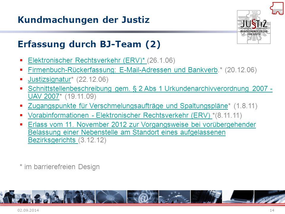 02.09.201414 Erfassung durch BJ-Team (2)  Elektronischer Rechtsverkehr (ERV)* (26.1.06) Elektronischer Rechtsverkehr (ERV)*  Firmenbuch-Rückerfassun