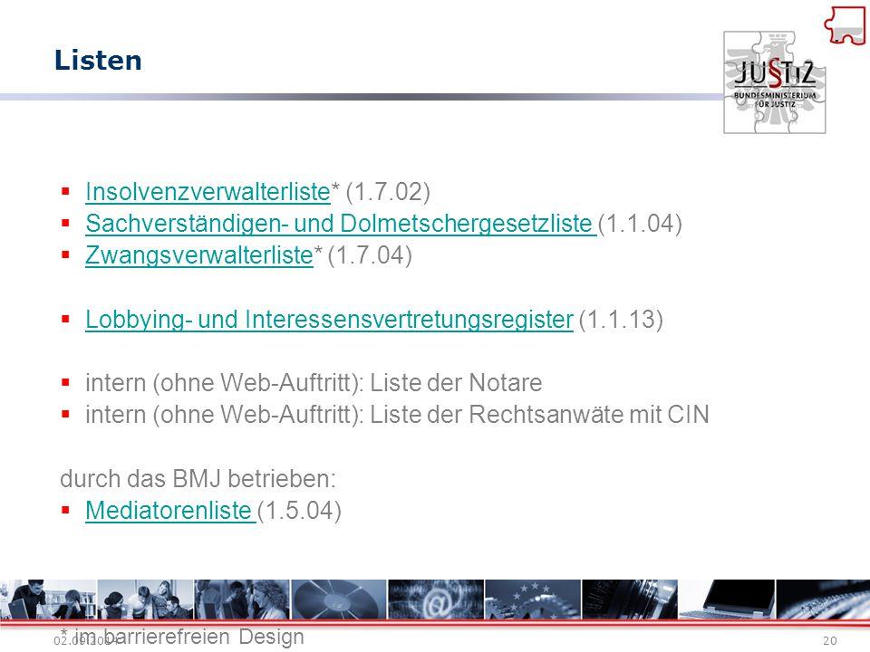 02.09.201420  Insolvenzverwalterliste* (1.7.02) Insolvenzverwalterliste  Sachverständigen- und Dolmetschergesetzliste (1.1.04) Sachverständigen- und