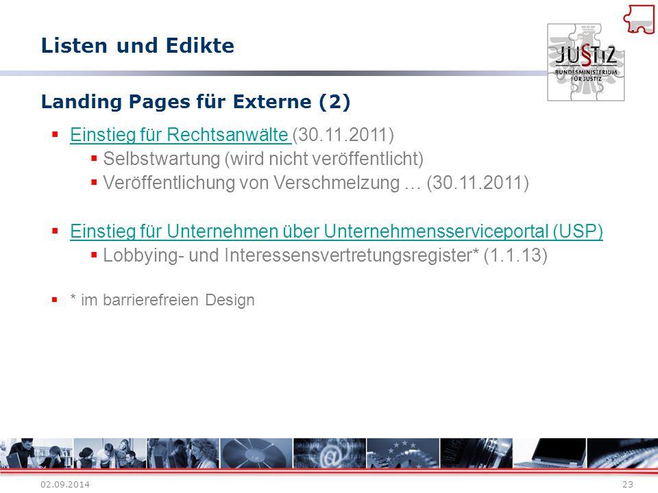 02.09.201423 Landing Pages für Externe (2)  Einstieg für Rechtsanwälte (30.11.2011) Einstieg für Rechtsanwälte  Selbstwartung (wird nicht veröffentl