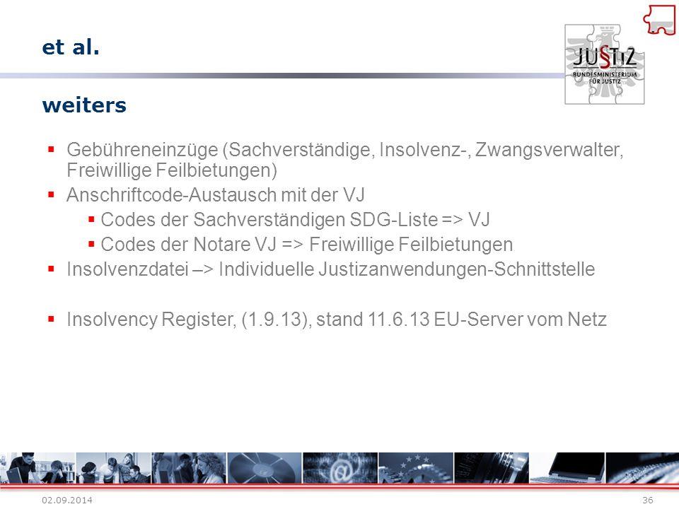 02.09.201436 weiters  Gebühreneinzüge (Sachverständige, Insolvenz-, Zwangsverwalter, Freiwillige Feilbietungen)  Anschriftcode-Austausch mit der VJ