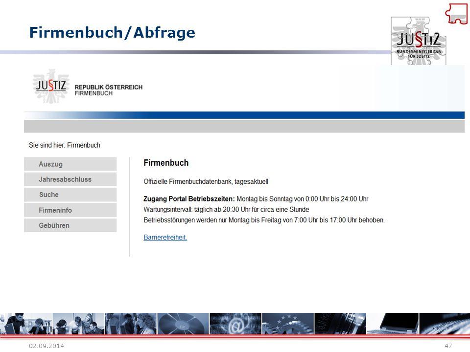 Firmenbuch/Abfrage 02.09.201447
