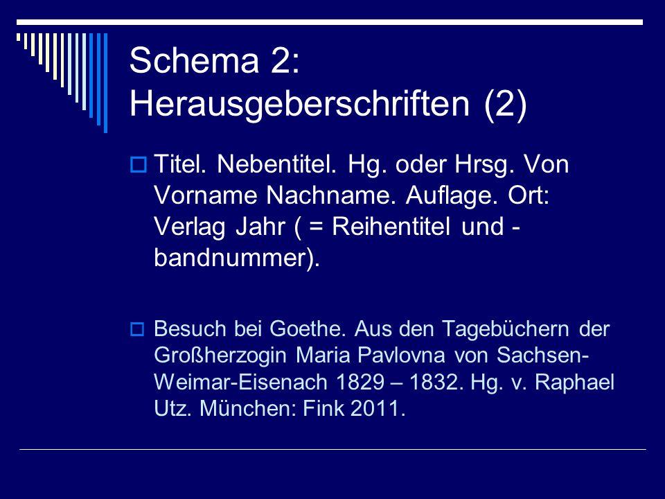 Schema 2: Herausgeberschriften (2)  Titel. Nebentitel.